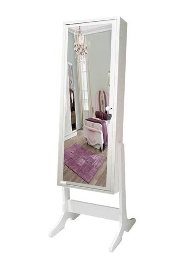 First Mobilya First Mobilya - Numberone - Ayaklı - Kilitli - Demonte - Aynalı - Takı Dolabı  Beyaz